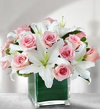 White Stargazers pink roses and vase lined with ribbon!