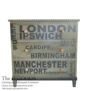 A creative typography chest of drawer with distressed painted colors by Indonesian craftsman. We design & produce high quality painted french furniture. #paintedfurniture #frenchfurniture #mahoganyfurniture #antiquefurniture #britishfurniture #indonesiafurniture