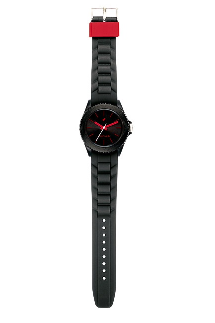 Part of Tees' first colours collection, this all black watch has contrasting red hands, branding, indices and loops.