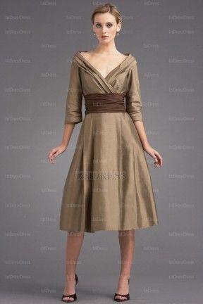A-Linie/Princess-Linie V-Ausschnitt Wadenlang Taft Brautmutterkleider