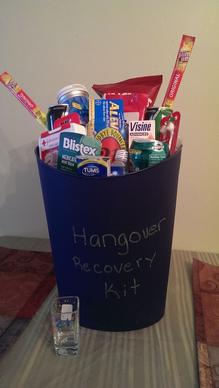 My son's 21st birthday Recovery Kit that I made for him.
