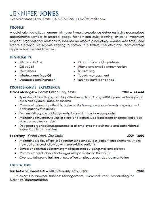 View the resume for an office management professional with experience overseeing daily operations of a dental office and medical facility.