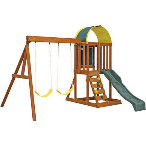 Outdoor Palyset Backyard Playground Swing Set Kids Cedar Wood Climbing Frame Gym #CedarSummit