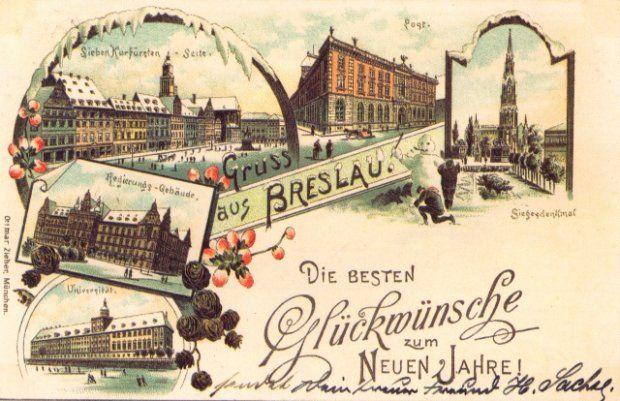 Noworoczna kartka litograficzna z Wrocławia, 1896