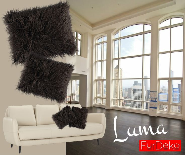 Brązowa poduszka futrzana LUMA to idealny dodatek do wnętrz w kolorze ecru, kremowym oraz piaskowym :) POLECAMY FurDeko http://bit.ly/1WB3yoE :) www.FurDeko.pl