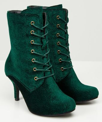 c7f5c7731573 Green Velvet Boots by Joe Browns
