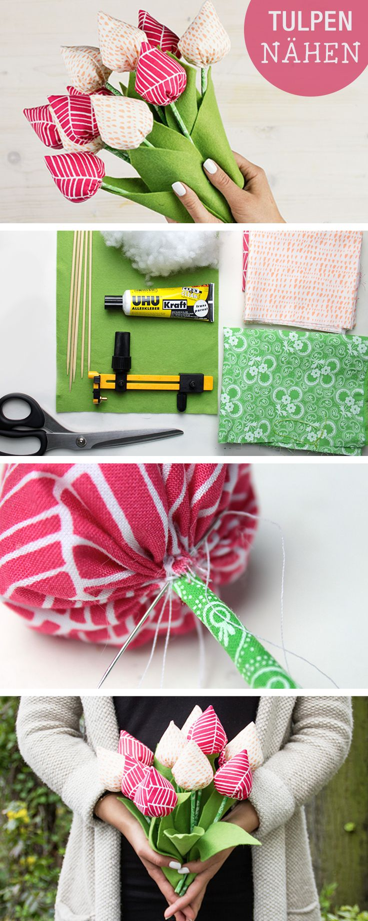 DIY-Anleitung: Tulpen aus Stoff nähen, Frühling basteln / diy tutorial for spring and mother's day: how to sew tulips via DaWanda.com