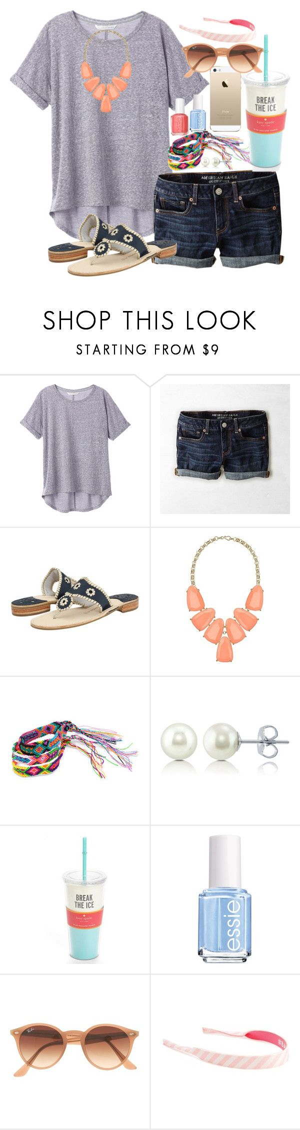 """100 followers!!!!!"" by emilyw01 ❤ liked on Polyvore featuring American Eagle Outfitters, Jack Rogers, Kendra Scott, FingerPrint Jewellry, Element, BERRICLE, Kate Spade, Essie, Ray-Ban and ban.do"
