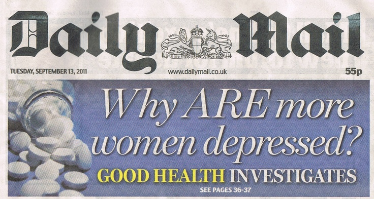 15.2m women have been affected by mental health issues at some point in thier lives. Daily mail front page story for Platform 51152M Women