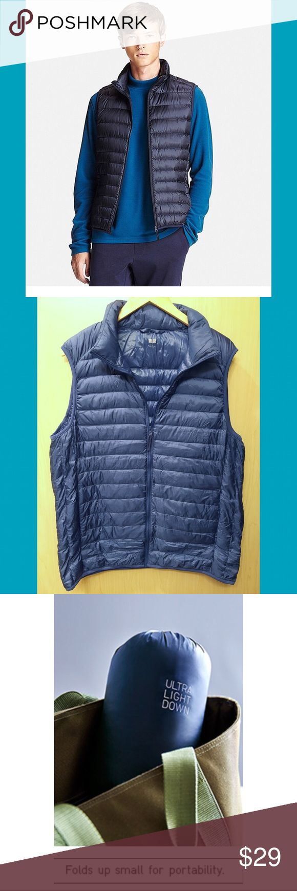Uniqlo Men's Down Vest Navy blue lightweight vest in men's size Large. Fits more like a roomier medium. Never been worn, comes with small packing bag. Perfect for summer Camping trips ☀️ Uniqlo Jackets & Coats Vests