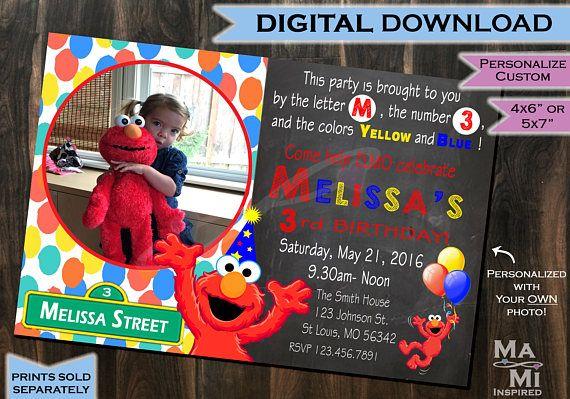 Elmo Birthday Invitation - Elmo Invite - Sesame Street Birthday Invitation - Birthday Invitation - Elmo Party - Printable - Custom - Chalk