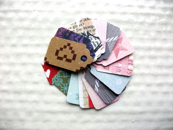 50 Tiny Gift Tags  1  gift embellishment  Tiny by stuffannaloves, kr30.00