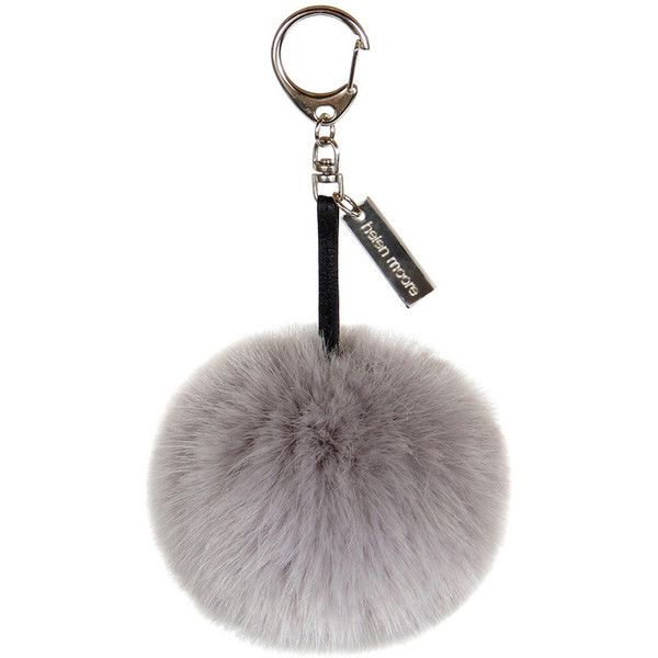 Helen Moore Pom Pom Keyring - Opal found on Polyvore featuring accessories, fillers, pom poms, keyring, extras, grey and pom pom key ring