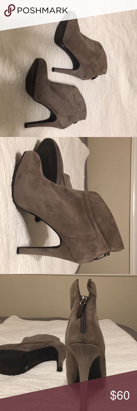 Jessica Simpson Aggie suede grey ankle booties These are lovely and versatile grey suede booties from Jessica Simpson's line. I purchased them at Nordstrom. They have never been worn (can't find the box though). They are in great condition as I have stored them. If you have any questions, ask away!! Jessica Simpson Shoes Ankle Boots & Booties