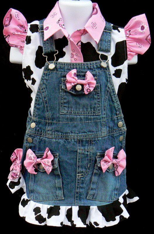 Pink Bandana type print with upcycled denim bib skirt  and custom made cow print  matching blouse. OMG, so cute! =)