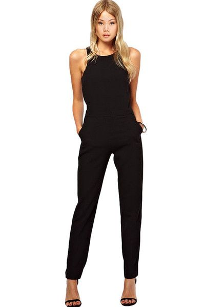 Womens Ladies Sleeveless Jumpsuit Bodycon Playsuit Clubwear Summer Sexy Pants Trousers Romper Black