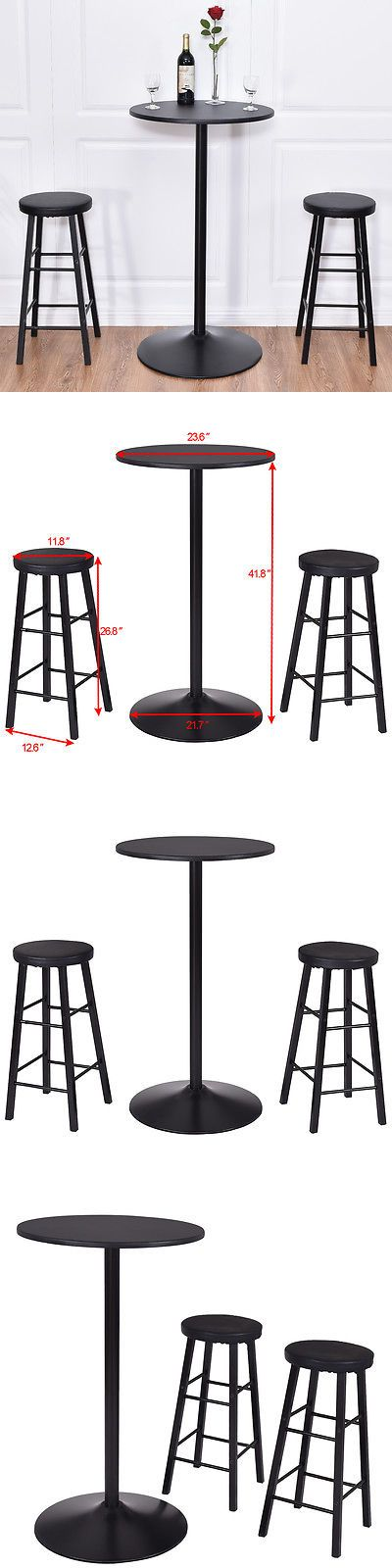 Home Pubs and Bars 115713: 3 Pc Round Bar Table Set W 2 Stools Bistro Pub Kitchen Dining Furniture Black -> BUY IT NOW ONLY: $79.99 on eBay!