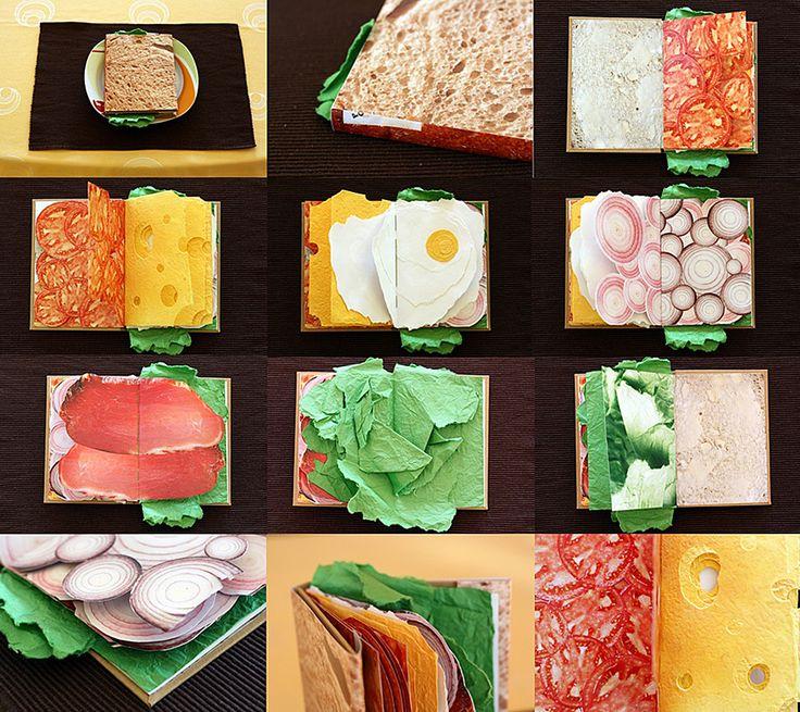 書き込むのがもったいない! 具だくさんサンドイッチ風のノートブックサンドイッチをモチーフにしたインパクト大のノートブックをデザインしたのは、ポーランド人デザイナーのPawel Piotrowskiさん。チーズやハム、オニオンスライス、目玉焼きといったサンドの具を忠実に再現した各ページはちょっと書きにくそうだけど、持っているだけで楽しい気分になれそうなプロダクトですね♪