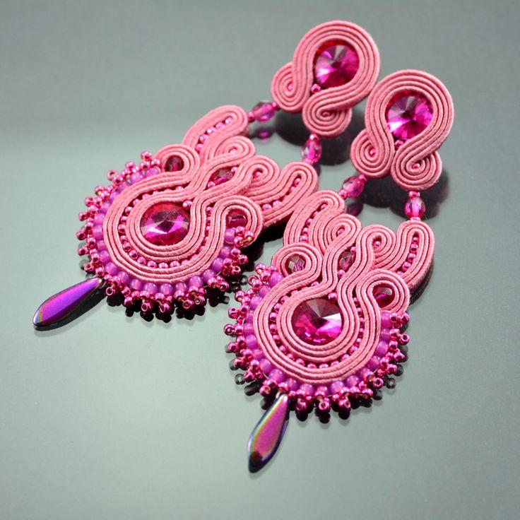 Long Pink Fuchsia Soutache Earrings Pink Orkid I, Crystal Long Soutache Earrings, Fuchsia Earrings, Orecchini Soutache, Statement Earrings by OzdobyZiemi on Etsy