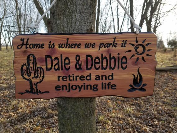First Names Campsite Sign Personalized Carved Wooden Camping Rv Sign