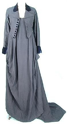 1999 repro 1810 Deep Navy Wool Felt Empire Trained Equestrian Riding Gown and Jacket from Jane Austen's Mansfield Park 1999 film version