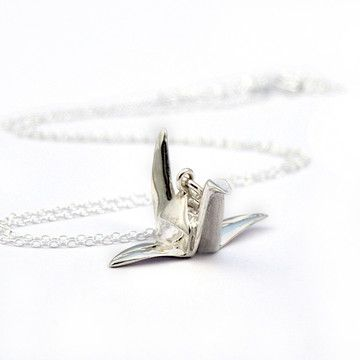 Origami Crane Necklace Silver, $55, now featured on Fab.