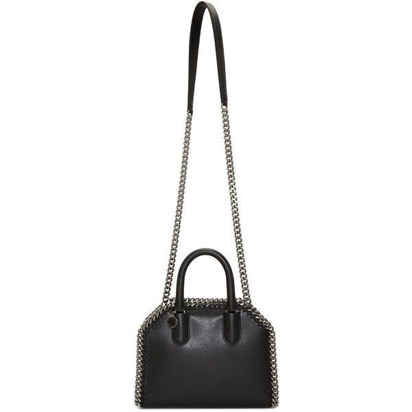 Stella McCartney Black Mini Falabella Box Bag (£925) ❤ liked on Polyvore featuring bags, handbags, shoulder bags, black, chain shoulder bag, chain handbags, zipper purse, animal handbags and faux-leather handbags