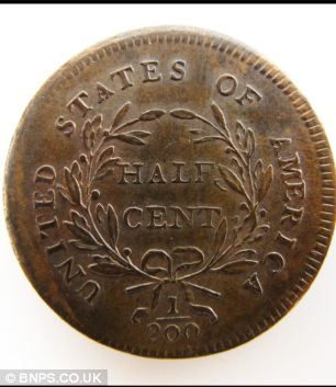 Valuable: The rare half cent American coin that is expected to fetch £30,000 at auction (reverse)