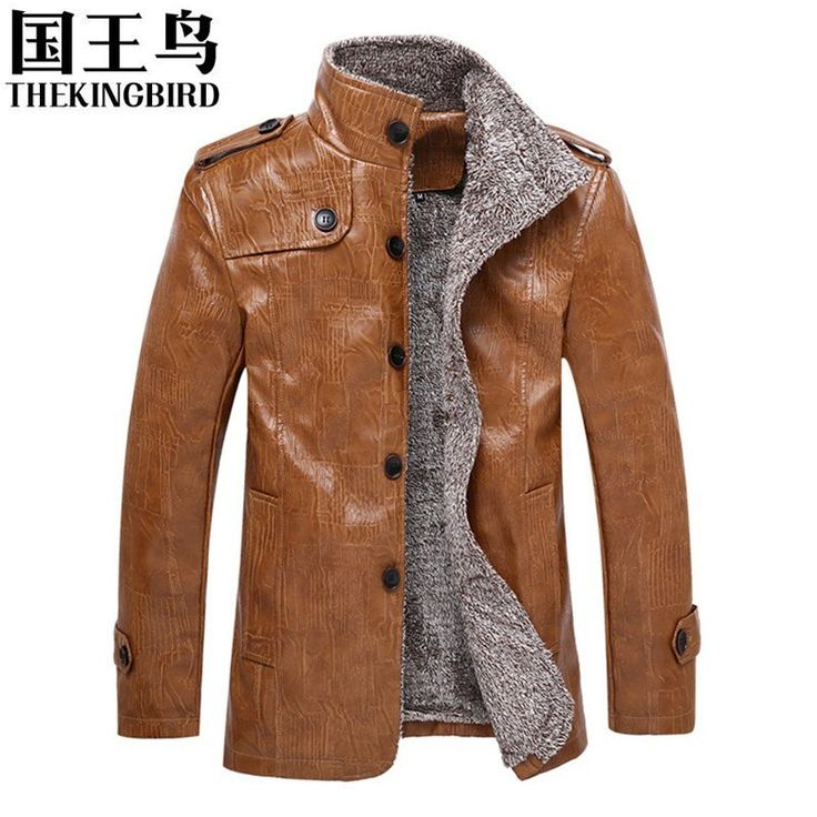 Men's jacket Winter Men's Motorcycle Leather Coat Men's clothing PU Leather Jacket Plus Velvet Thicken In the Long Section