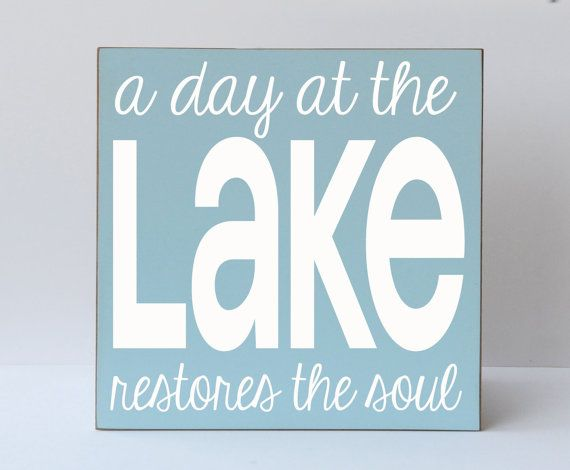 A Day At The Lake - Sign - Typography Word Art Handpainted Wooden Sign - Lake Sign - Etsy