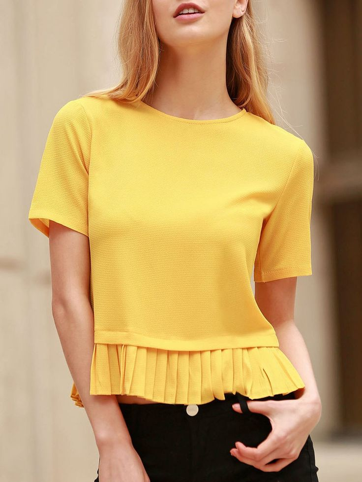 Fashionable Short Sleeve Pleated Hem Yellow Pullover T-Shirt For Women