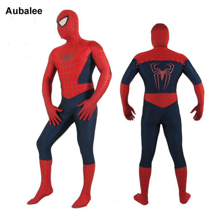 ==> [Free Shipping] Buy Best New Mens Adult Spiderman Cosplay Costumes Superhero Full Body Zentai Suit Red Blue Spider-Man Costume Halloween Spider Man 2017 Online with LOWEST Price | 32801036974