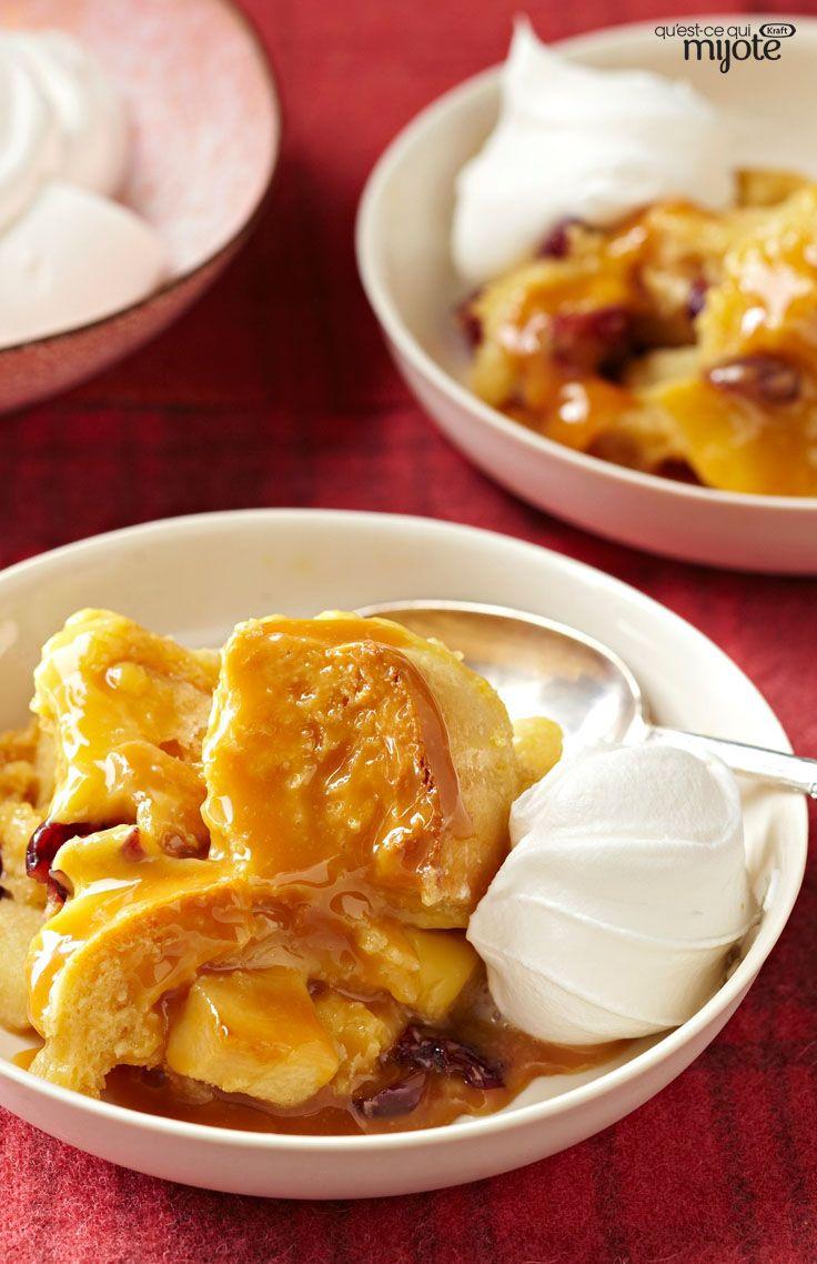 Pouding au pain, aux pommes et au caramel #recette