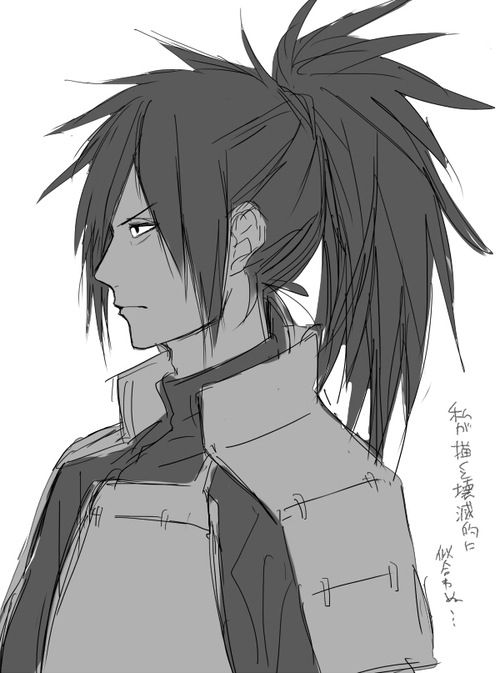 Madara Uchiha. Looks different with hair up in a pony tail. Lmao but it still [not really] kinda suits him