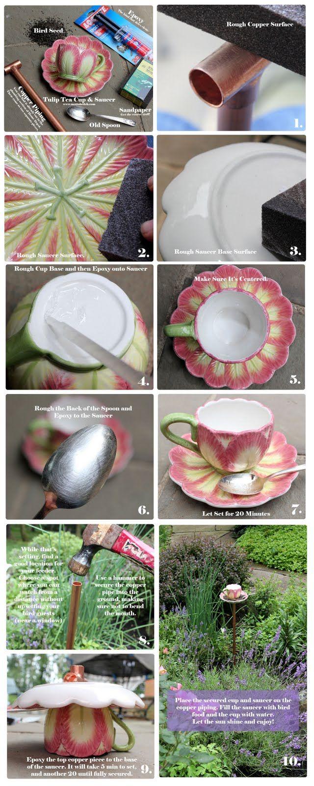 Tulip Tea Cup Bird Feeder - Mottahedeh