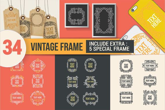 Classic line art border and frame by Illusatrian on Etsy