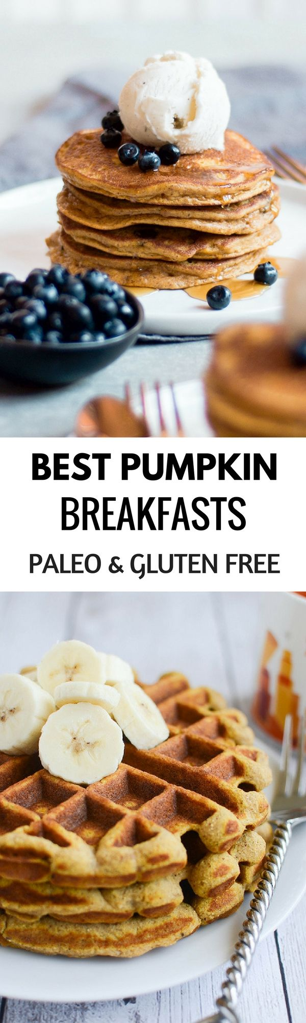 The best Paleo Pumpkin breakfast recipes! Delicious Gluten free and Paleo breakfast ideas for easy pumpkin pancakes, waffles, muffins, and more! Healthy and inspiring food.