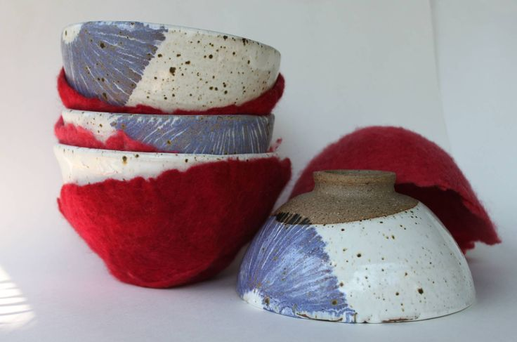 handmade noodle bowls with felt holders. microwave and dishwasher safe AUD 18.00 each