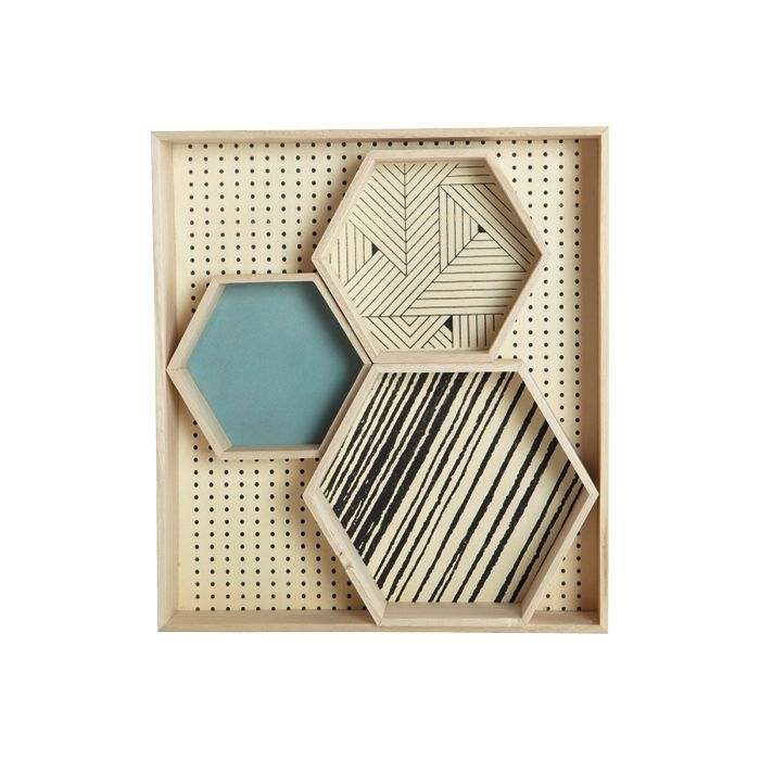 House Doctor || Must have! || Desktop organizer consists of four elements, ideal for small items, jewelry and candles. Four trays made of wood and plywood with prints.