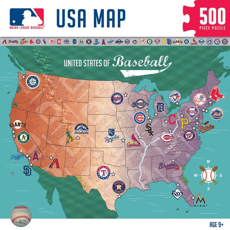Best MLB Jigsaw Puzzles Images On Pinterest Mountain - Us map of mlb teams