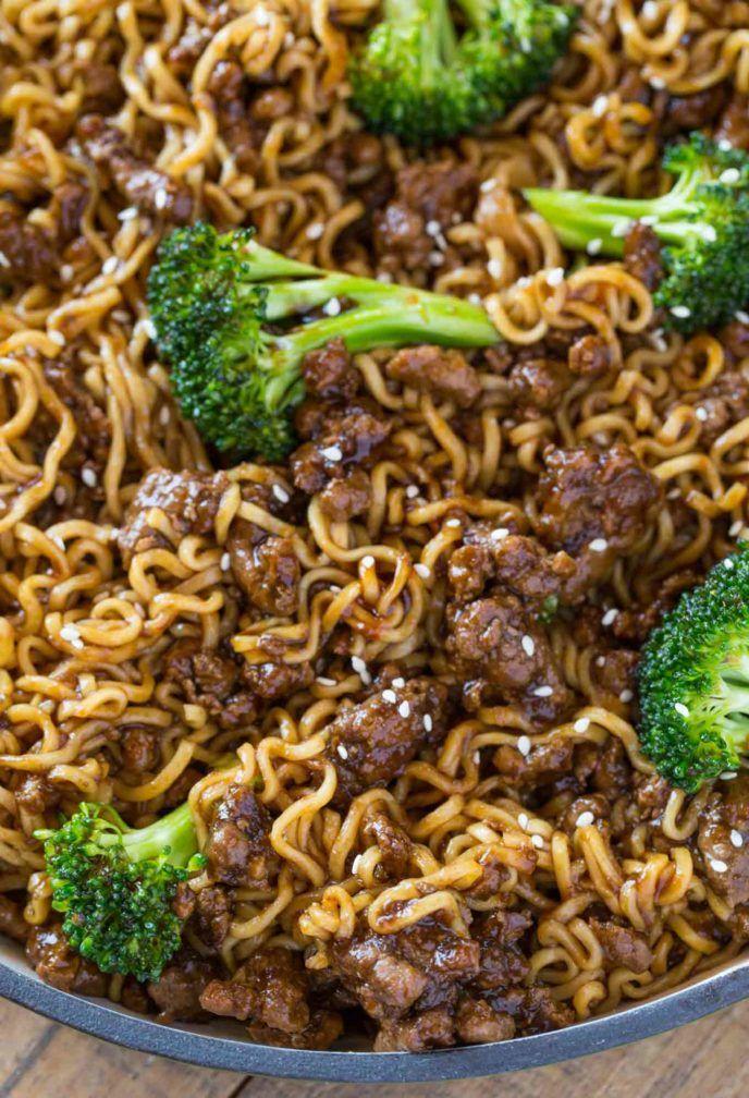 Ground Beef Teriyaki Ramen With A Five Ingredient Teriyaki Sauce Ramen And Broccoli In Less Than 20 Minutes Ramen Dinner Beef Ramen Noodle Recipes Beef Dinner