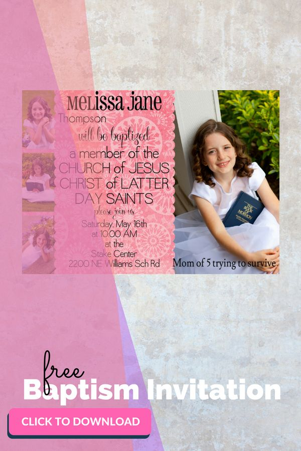 Free LDS Baptism Invitations | Love these! So cute and makes my life easier.
