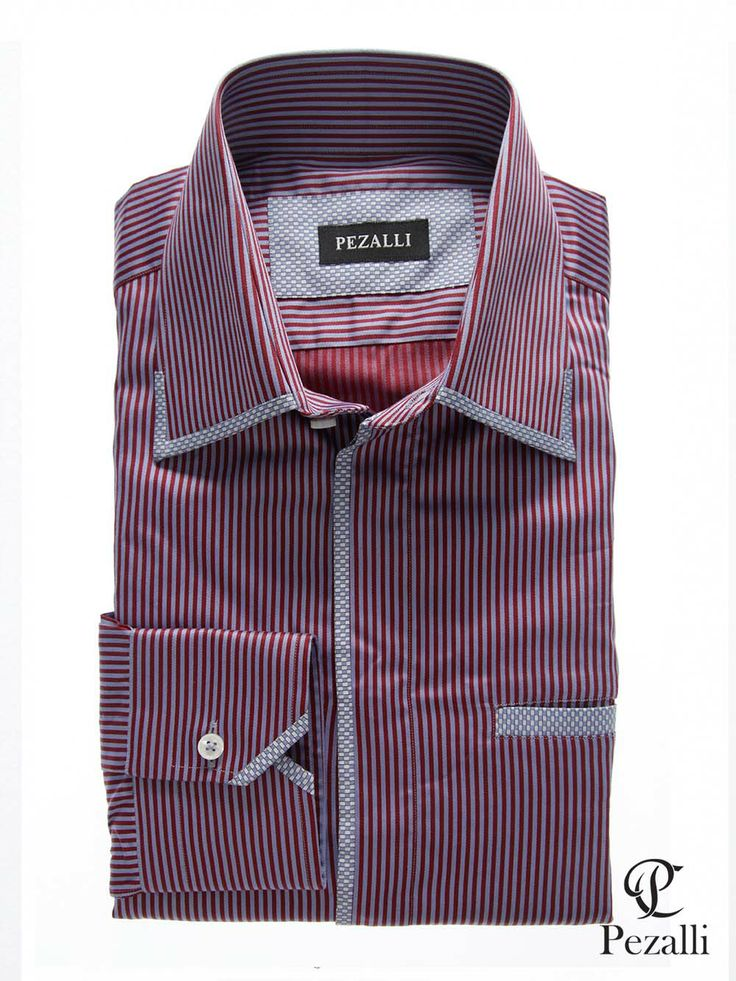 100% Egyptian Cotton shirt in red and blue stripes with designer collar, cuff and front placket. With welt front pocket.