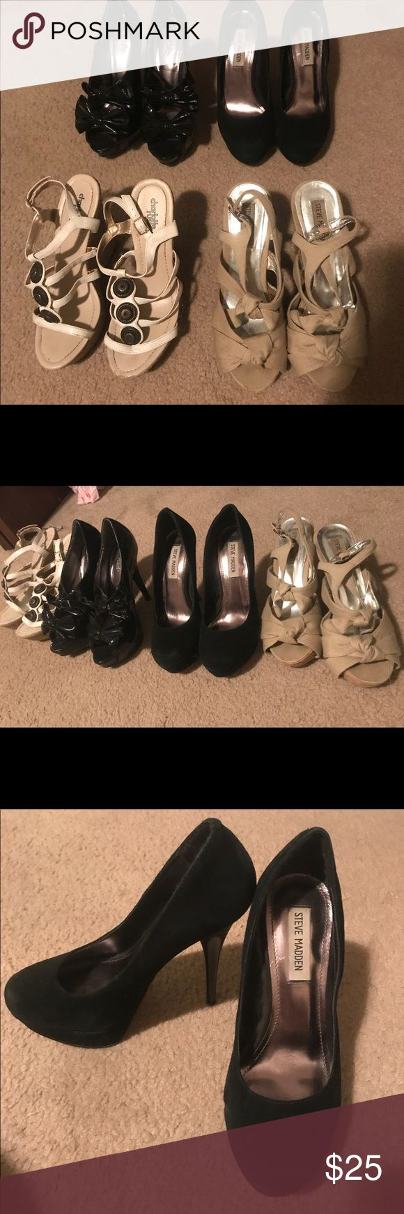 Lot of Women's Heels/ wedge shoes size 8 Selling a lot of women's shoes, heels and wedges. Two of the pairs are Steve Madden, one pair are black high pumps, the second tan wedges. The other pairs are Charlotte Russe, one pair of black shiny bow heels, the other white wedges. All of the shoes are a women's size 8. Most of them are worn which you can tell from the bottoms, but are otherwise in pretty good shape. Steve Madden Shoes Heels