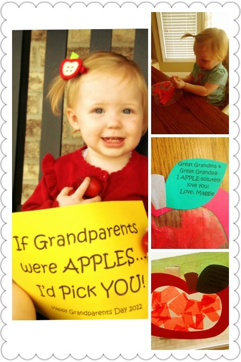 Grandparents day idea.  I like using an apple since this theme is at the beginning of the year.  Could do any apple craft with that sentiment attached to it.