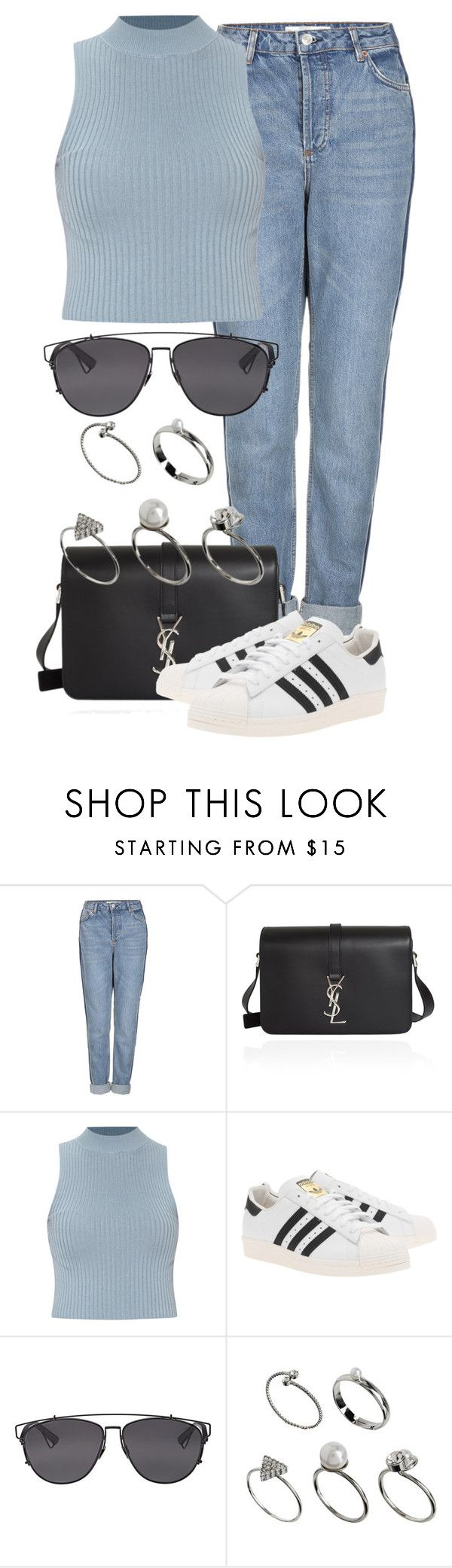 """""""Untitled #2130"""" by annielizjung ❤ liked on Polyvore featuring Topshop, Yves Saint Laurent, adidas Originals, Christian Dior and ASOS"""