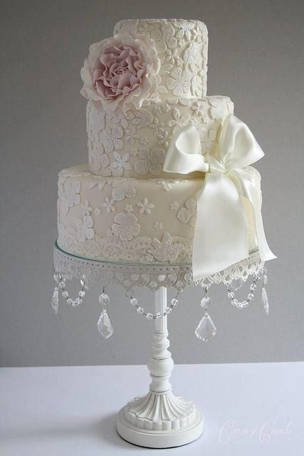 Estilo Vintage Decoracion Boda ~ tier wedding cakes, Tier wedding cakes and Lace applique on