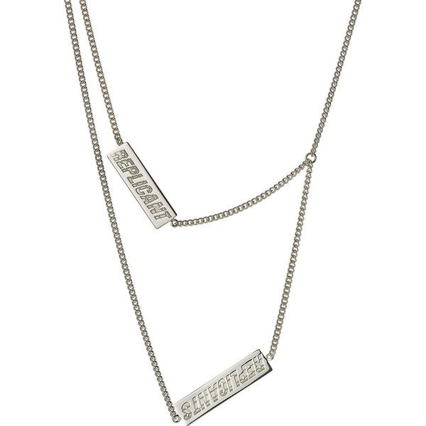 Raf Simons Layered Silver Necklace ($655) ❤ liked on Polyvore featuring men's fashion, men's jewelry, men's necklaces, silver and mens silver necklace