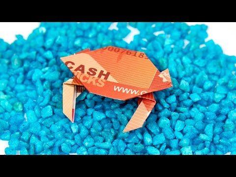 KRABBE aus GELD falten, KREBS aus Geldschein basteln, Origami Anleitung - YouTube