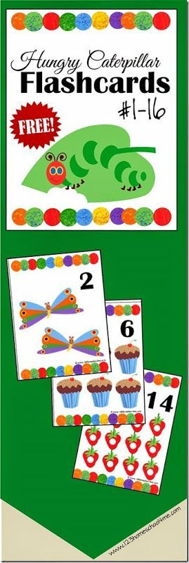 FREE Number Flashcards - Hungry Caterpillar theme! These are SO cute and perfect for toddler, preschool, kindergarten age kids to practice counting, early math, and play learning games! LOVE THESE!